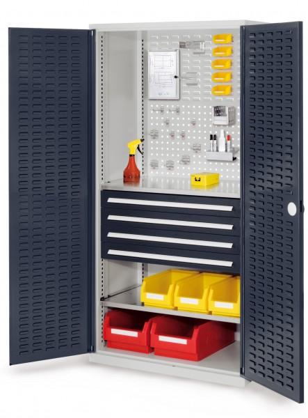 RasterPlan Schubladenschrank, Modell 23, RAL 7035/7016. Türinnenseite: Schlitzplatten 1950 x 1000 x 600 mm, mm 4 Schubladen H 100 mm, mm 2 Fachböden verzinkt.