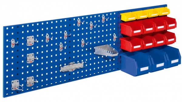 RasterPlan Kombiplatte Set 4, RAL 5010. 3 x Kombiplatte H 450 x B 1500 mm, 3 x Lsk. Gr. 6, 8 x Lsk. Gr. 7, 4 x Lsk. Gr. 8, 1 x Werkzeughaltersort. 15-teilig.