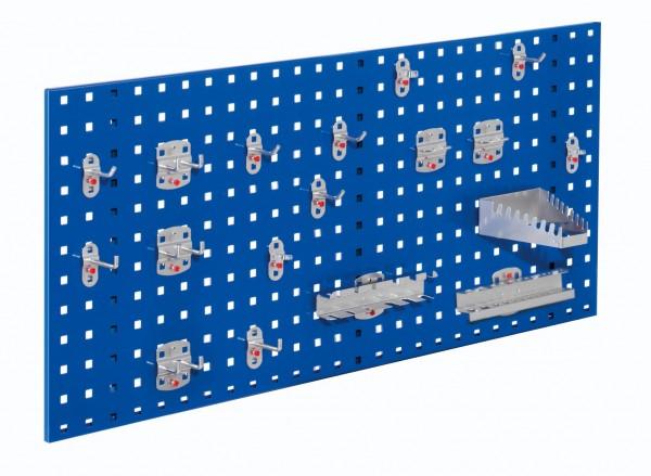 ®RasterPlan Einsteigerset 6 1 x ®RasterPlan Lochplatte RAL 5010 - Enzianblau Breite 1000 mm x Höhe 450 mm 1 x ®RasterPlan Werkzeughalter-Sortiment 18-teilig