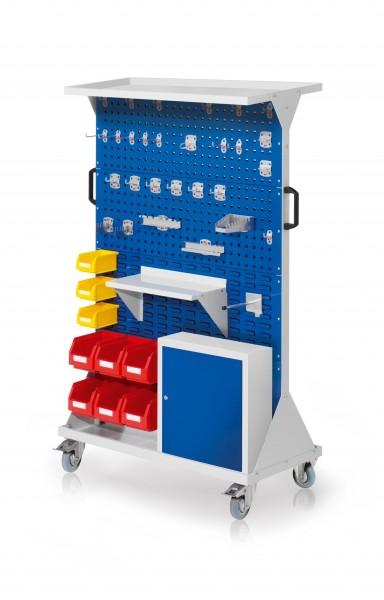 RasterMobil Gr. 4 RAL 5010, H1620 x B1000 x T500 mm. 1 x Auflageboden aus Stahlblech, 1 x Werkzeughaltersort. 28-teilig, 1 x Stahlboden 450 mm, 1 x Universalhalter,1 x Einhängeschrank, 6 x Lsk. Gr. 6, 3 x Lsk. Gr. 7.