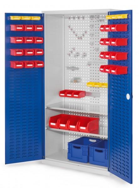 RasterPlan Werkzeugschrank Mod 5 500, H1950 x B1000 x T500 mm, RAL 7035/5010. Türinnenseite: RasterPlan Schlitzplatten, 2 Fachböden.