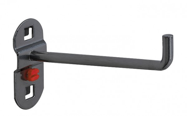 RasterPlan Werkzeughalter anthrazitgrau, L 125 mm, senkrechtes Hakenende.