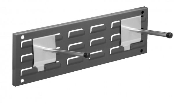 RasterPlan Wandschiene Schlitzplatte Set 3, L 460 mm, x H 140 mm, RAL 7016. 2 x Universalhalter.