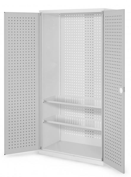 RasterPlan Werkzeugschrank Mod 5 500, H1950 x B1000 x T500 mm, RAL 7035. Türinnenseite: RasterPlan Lochplatten, 2 Fachböden.