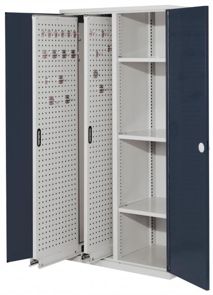 RasterPlan Vertikalschrank Modell 80, 1950 x 1000 x 600 mm, RAL 7035/7016. Doppelwandtür, 2 Auszüge Lochplatten, 3 Böden.