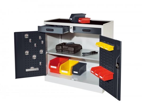 ®RasterPlan Arbeitsplatzschrank Modell 4, RAL 7035/7016. Je 1 Innentür ®RasterPlan Lochplatten, ®RasterPlan Schlitzplatten, 2 Schubladen, 1 Fachboden.