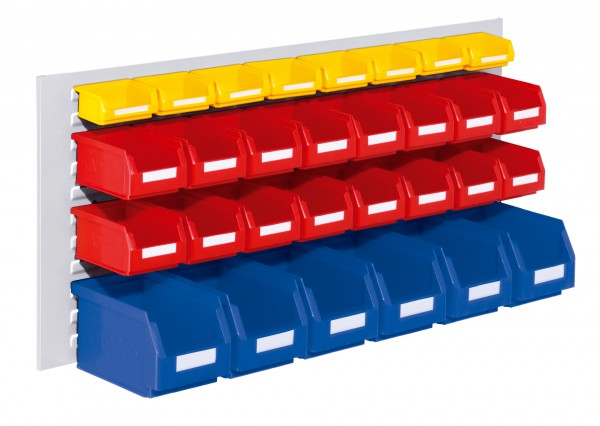 RasterPlan Schlitzplatten Einsteigerset 3, RAL 7035. 1 x Schlitzplatte H 450 x B 1000 mm, 6 x Lsk. Gr. 6, 16 x Lsk. Gr. 7, 8 x Lsk. Gr. 8.