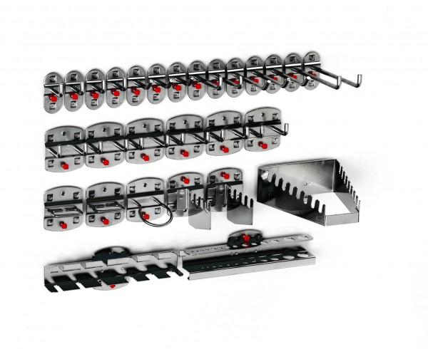 ®RasterPlan Werkzeughalter-Sortiment 28-teilig Anthrazitgrau 6 Werkzeughalter, schräges Hakenende, 8 Werkzeughalter, senkrechtes Hakenende, 6 Doppelte Werkzeughalter, senkrechtes Hakenende, 2 Zangenhalter, 1 Maschinenhalter, 1 Schraubenschlüsselhalte