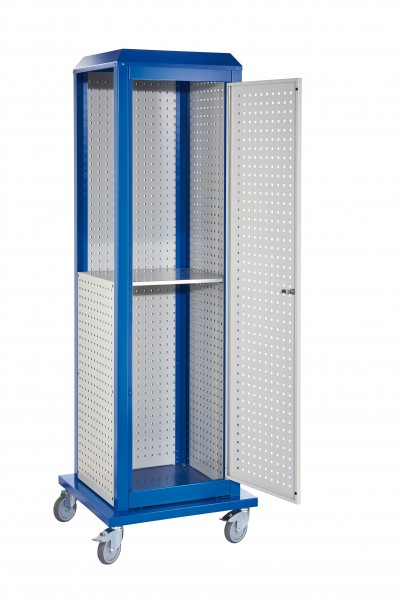 RasterPlan ToolTower groß Mod 3, mobil, RAL 7035/5010. 2 LP außen groß, 2 LP innen groß, 1 LP außen klein, 1 LP Tür, 1 Fachboden.