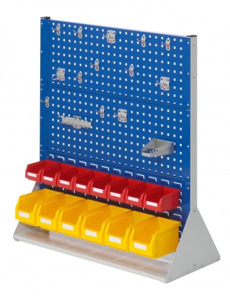 RasterPlan Stellwand Gr.3 doppelseitig, H1100 x B1000 x T430 mm, 7035/5010. 1 x Werkzeughaltersortiment 15-teilig, 8 x Lsk. Gr. 7, 6 x Lsk. Gr. 6.