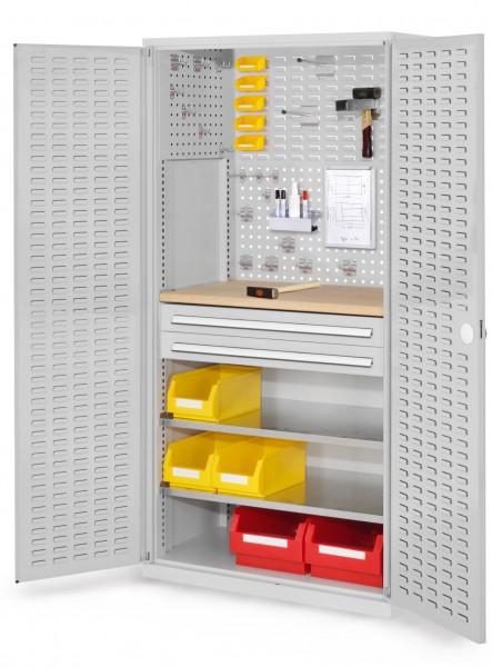 RasterPlan Schubladenschrank, Modell 24, RAL 7035. Türinnenseite: Schlitzplatten 1950 x 1000 x 600 mm, 2 Schubladen H 100 mm, 2 Fachboden verzinkt, 1 Werkbankplatte Multiplex.