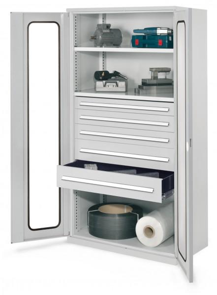 Schwerlastschrank ohne Mitteltrennwand, 1950 x 1000 x 600 mm, Mod 44, RAL 7035. Sichtfenstertür, 2 Fachboden verzinkt. 1 Schubladen 100 2 Schubladen 125 2 Schubladen 175