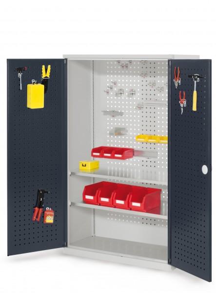 RasterPlan Werkzeugschrank Mod 4 500, H1600 x B1000 x T500 mm, RAL 7035/7016. Türinnenseite: RasterPlan Lochplatte, 2 Fachböden.