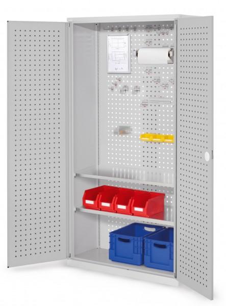 ®RasterPlan Werkzeugschrank Mod 5 410, H1950 x B1000 x T410 mm, RAL 7035. Türinnenseite: ®RasterPlan Lochplatten,, 2 Fachböden.
