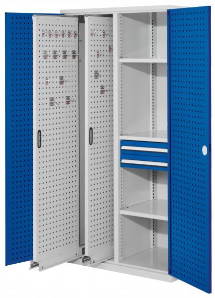 RasterPlan Vertikalschrank Modell 81, 1950 x 1000 x 600 mm, RAL 7035/5010. Türinnenseite: RasterPlan Lochplatten, 2 Auszüge Lochplatten, 3 Fachböden, 2 Schubladen 100 mm.