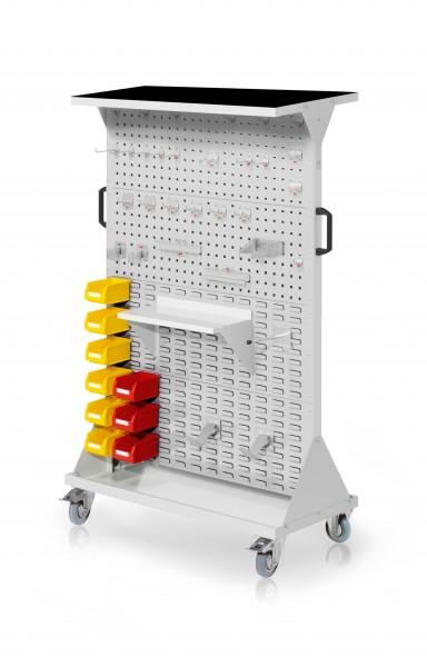 RasterMobil Gr. 4 RAL 7035, H1620 x B1000 x T500 mm. 1 x Auflageboden aus Stahlblech inkl. Riffelgummimatte, 1 x Werkzeughaltersort. 28-teilig, 1 x Stahlboden 450 mm, 1 x Universalhalter, 2 x Dornträger, 9 x Lsk. Gr. 7.