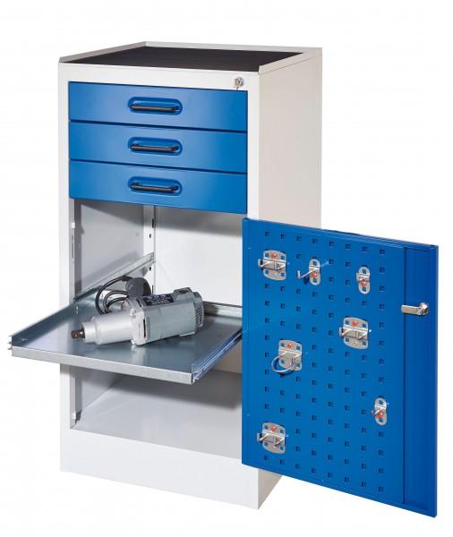 RasterPlan Arbeitsplatzschrank Modell 2S, H 1000 x B 500 x T 500 mm Türinnenseite: RasterPlan Lochplatten, RAL 7035/5010, 3 Schubladen, 1 ausziehbarer Fachboden.