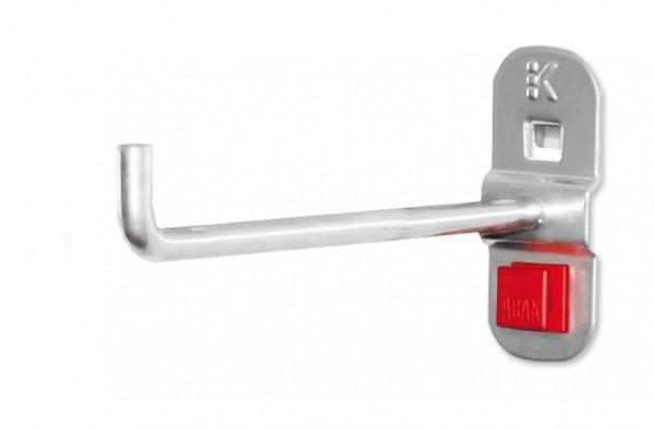 RasterPlan/ABAX Werkzeughalter alufarben, L 125 mm, senkrechtes Hakenende.