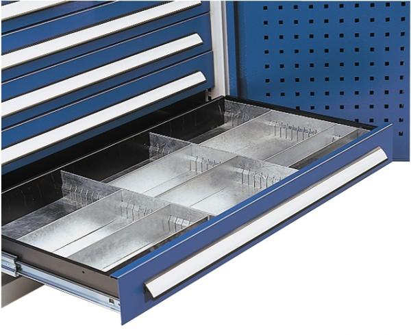 Einteilungsset Schublade für H 125 mm, Breite 1000 mm, verzinkt.