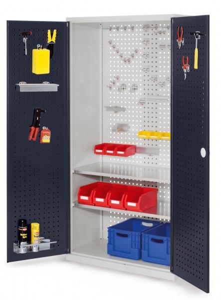 ®RasterPlan Werkzeugschrank Mod 5 500, H1950 x B1000 x T500 mm, RAL 7035/7016. Türinnenseite: ®RasterPlan Lochplatte, 2 Fachböden.
