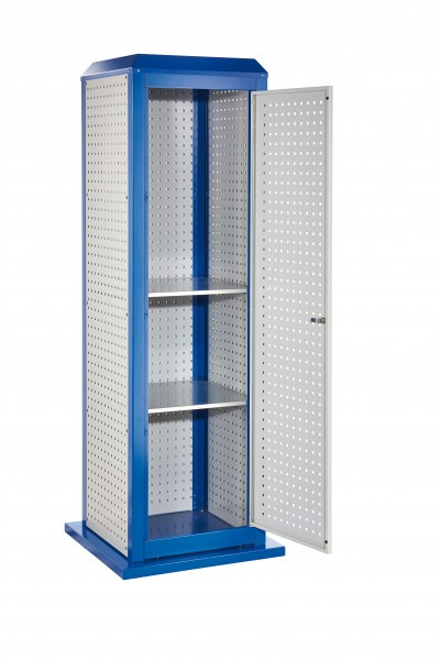 RasterPlanToolTower groß Mod 5, stationär, RAL 7035/5010. 3 LP aussen groß, 2 LP innen groß, 1 LP Tür, 2 Fachböden.