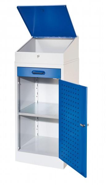 ®RasterPlan Arbeitsplatzschrank 1 Plus, Innentür ®RasterPlan Lochplatte. RAL 7035/5010, mit Pultaufsatz, 1 Boden