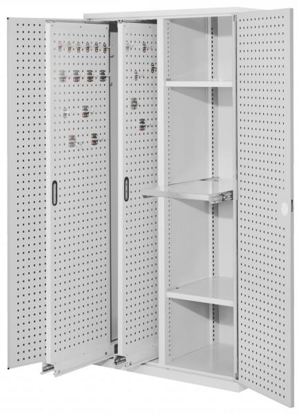 RasterPlan Vertikalschrank Modell 84, 1950 x 1000 x 600 mm, RAL 7035. Türinnenseite: RasterPlan Lochplatten, 2 Auszüge Lochplatten, 2 Böden, 1 Auszugsboden.