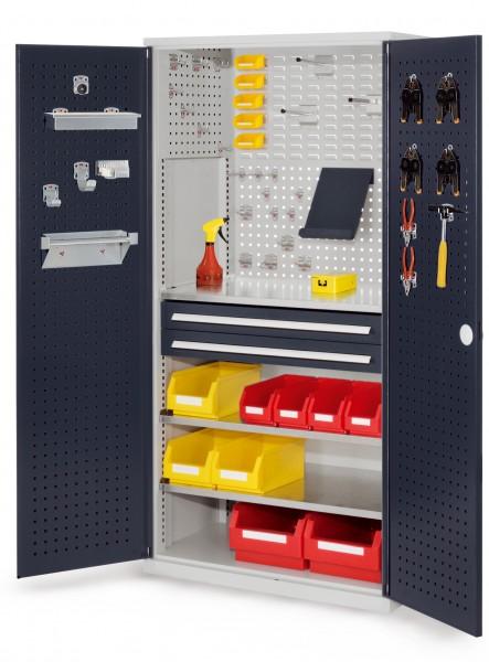 RasterPlan Schubladenschrank, Modell 11, RAL 7035 /7016. Türinnenseite: Lochplatten, 1950 x 1000 x 600 mm,, 2 Schubladen H 100 mm, 3 Fachböden verzinkt.