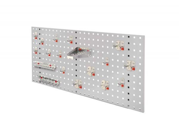 RasterPlan/ABAX Lochplatten Einsteigerset 6, RAL 7035. Bestehend aus 1 Lochplatte 1000 x 450 mm, 1 ABAX Werkzeughaltersortiment 18-teilig,
