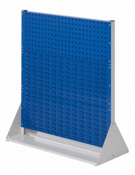 RasterPlan Stellwand Gr.3 doppelseitig, H1100 x B1000 x T430 mm, RAL 7035/5010. 2 Lochplatten, 4 Schlitzplatten.