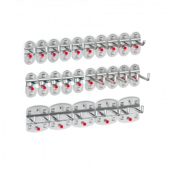 ®RasterPlan Werkzeughalter-Sortiment 25-teilig Alufarben 5 Werkzeughalter, schräges Hakenende, 10 Werkzeughalter, senkrechtes Hakenende, 5 Doppelte Werkzeughalter, senkrechtes Hakenende, 5 Werkzeugklemmen