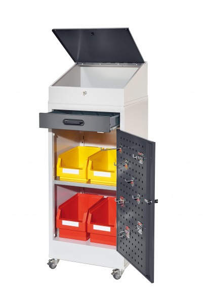 RasterPlan Arbeitsplatzschrank 1 Plus mobil, H 1200 x B 500 x T 500 mm Türinnenseite: RasterPlan Lochplatte RAL 7035/7016, 1 Schublade, 1 Boden, 1 Pultaufsatz, 1 Mobiler Rahmen.