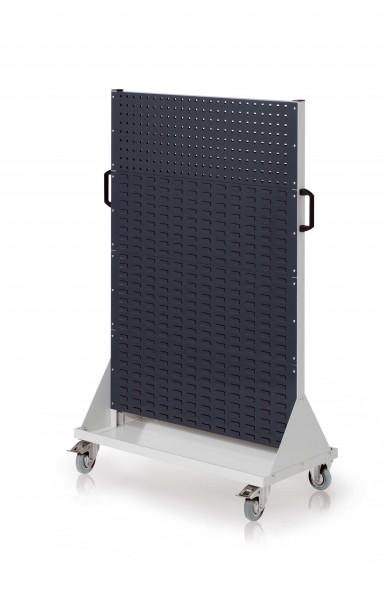 RasterMobil Gr. 4 RAL 7035/7016, H1580 x B1000 x T500 mm. 2 Lochplatten, 6 Schlitzplatten.