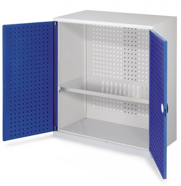 RasterPlan Werkzeugschrank Mod 2 500, H1000 x B1000 x T500 mm, RAL 7035/5010. Türinnenseite: RasterPlan Lochplatte, 1 Fachboden.