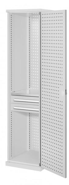 RasterPlan Schubladenschrank schmal Mod 4, 1950 x 600 x 600 mm, 7035, Lochplattentür. 1 Fachboden verzinkt, 2 Schubladen 125 mm.