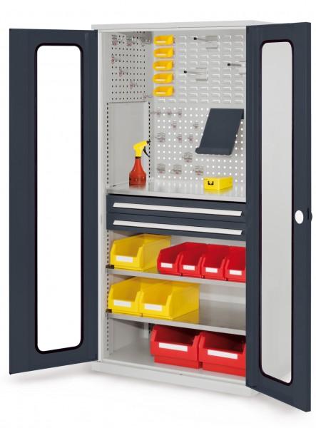 RasterPlan Schubladenschrank, Modell 31, RAL 7035/7016. Sichtfenstertür. 1950 x 1000 x 600 mm, 2 Schubladen H 100 mm, 3 Fachböden verzinkt.