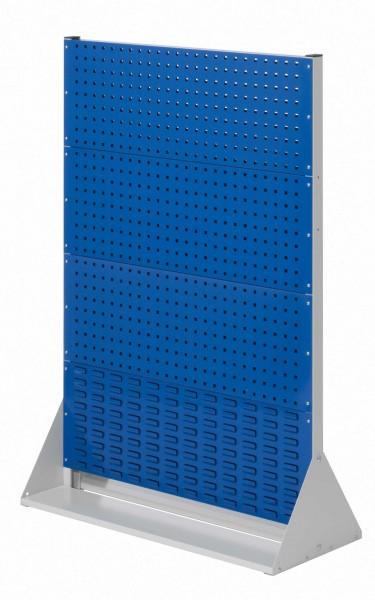 RasterPlan Stellwand Gr.4 doppelseitig, H1450 x B1000 x T430 mm, RAL 7035/5010. 6 Lochplatten, 2 Schlitzplatten.