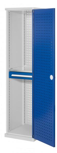 RasterPlan Schubladenschrank schmal Mod 3, 1950 x 600 x 600 mm, 7035/5010, Lochplattentür. 1 Fachboden verzinkt, 1 Schublade 125 mm.
