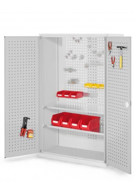 RasterPlan Werkzeugschrank Mod 4 500, H1600 x B1000 x T500 mm, RAL 7035. Türinnenseite: RasterPlan Lochplatte, 2 Fachböden.