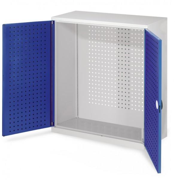 RasterPlan Werkzeugschrank Mod 1 410, H1000 x B1000 x T410 mm, RAL 7035/5010. Türinnenseite: RasterPlan Lochplatte.