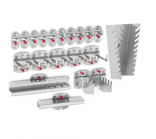 ®RasterPlan Werkzeughalter-Sortiment 20-teilig Alufarben 5 Werkzeughalter, senkrechtes Hakenende, 5 Doppelte Werkzeughalter, senkrechtes Hakenende, 5 Werkzeugklemmen, 2 Sägenhalter, 1 Bithalter, 1 Bohrerhalter, 1 Schraubenschlüsselhalter, senkrecht