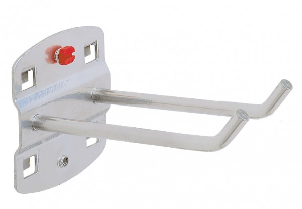 ®RasterPlan Doppelter Werkzeughalter, schräges Hakenende Länge 75 mm Alufarben