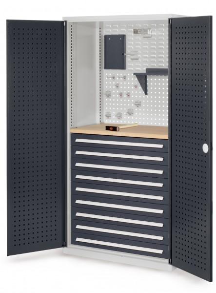 RasterPlan Schubladenschrank, Modell 17, RAL 7035/7016. Türinnenseite: Lochplatten, 1950 x 1000 x 600 mm, mm 9 Schubladen H 100 mm, mm 1 Werkbankplatte Multiplex.
