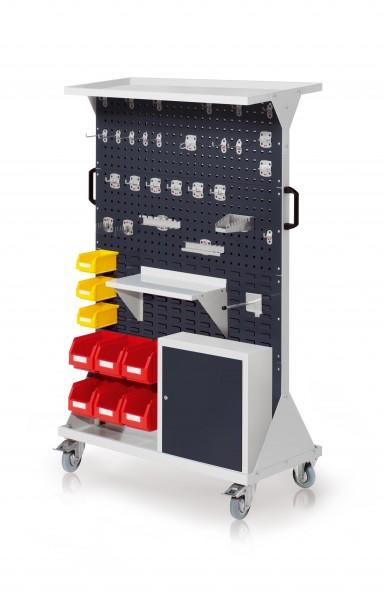 RasterMobil Gr. 4 RAL 7035/7016, H1620 x B1000 x T500 mm. 1 x Auflageboden aus Stahlblech, 1 x Werkzeughaltersort. 28-teilig, 1 x Stahlboden 450 mm, 1 x Universalhalter,1 x Einhängeschrank, 6 x Lsk. Gr. 6, 3 x Lsk. Gr. 7.
