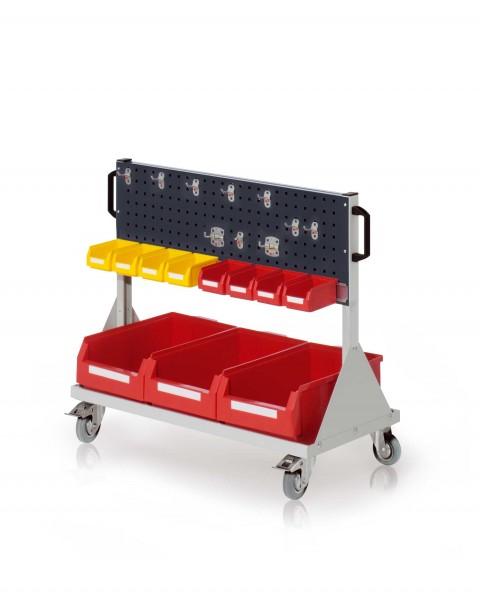 RasterMobil Gr. 2 RAL 7035/7016, H890 x B1000 x T500 mm. 1 x Werkzeughaltersortiment 10-teilig, 1 x Lagersichtkastenhalter 990 mm, 3 x Lsk. Gr. 2, 8 x Lsk. Gr. 7.