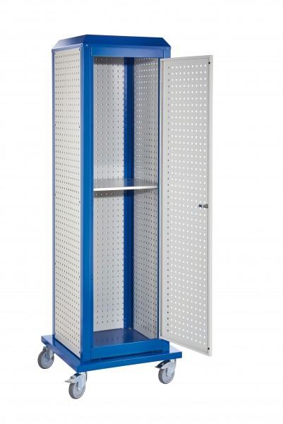 RasterPlan Tool Tower groß Mod 4, mobil, RAL 7035/5010. 3 LP außen groß, 2 LP innen groß, 1 LP Tür, 1 Fachboden.