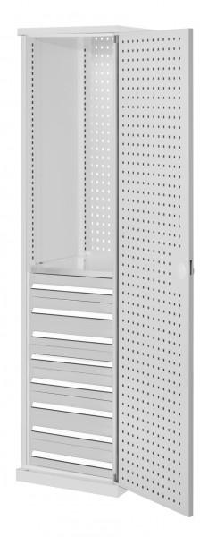 RasterPlan Schubladenschrank schmal Mod 6, 1950 x 600 x 600 mm, 7035, Lochplattentür. 1 Fachboden verzinkt, 8 Schubladen 125 mm.