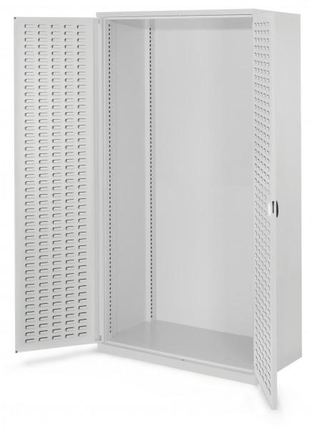 Schwerlastschrank Leergehäuse/Mod 40, 1950 x 1000 x 600 mm, RAL 7035. Ohne Mitteltrennwand, Türinnenseite: RasterPlan Schlitzplatte.