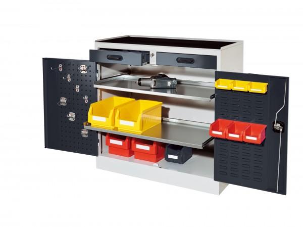 RasterPlan Arbeitsplatzschrank Modell 4S, H 1000 x B 1000 x T 500 mm. Je 1 Innentür RasterPlan Lochplatte, RasterPlan Schlitzplatte, RAL 7035/7016, 2 Schubladen 2 ausziehbare Böden.