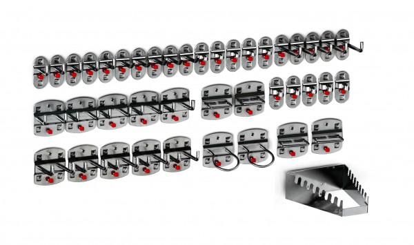 ®RasterPlan Werkzeughalter-Sortiment 42-teilig Anthrazitgrau 5 Werkzeughalter, schräges Hakenende, 10 Werkzeughalter, senkrechtes Hakenende, 10 Doppelte Werkzeughalter, senkrechtes Hakenende, 10 Werkzeugklemmen, 2 Maschinenhalter, 4 Zangenhalter, 1 S